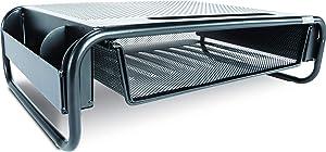 Allsop 32166 Metal Art Organizer 5 Riser Monitor Stand with Drawer and Side Caddies, Black