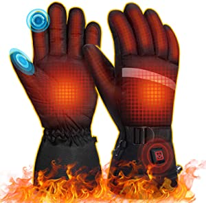 MOVTOTOP Heated Gloves, Portable Battery Heated Gloves for Men Women,【 2020 Newest 】 3 Heating Temperature Adjustable Touchscreen Waterproof Heated Motorcycle Gloves
