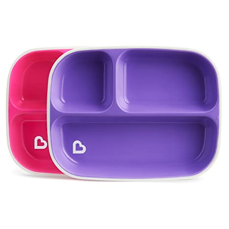Munchkin Splash 4 Piece Toddler Divided Plate And Bowl Dining Set, Pink/ Purple 27164
