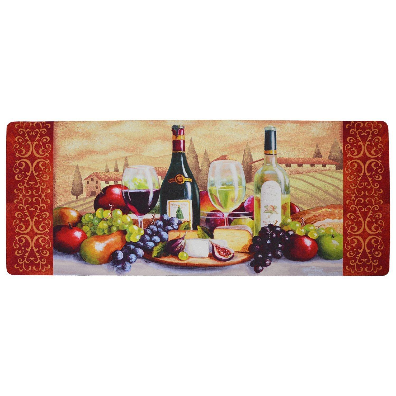 USTIDE Vintage Wine Pattern Area Rugs Waterproof Kitchen Floor Runner Non-Slip Laundry Rug by USTIDE (Image #2)