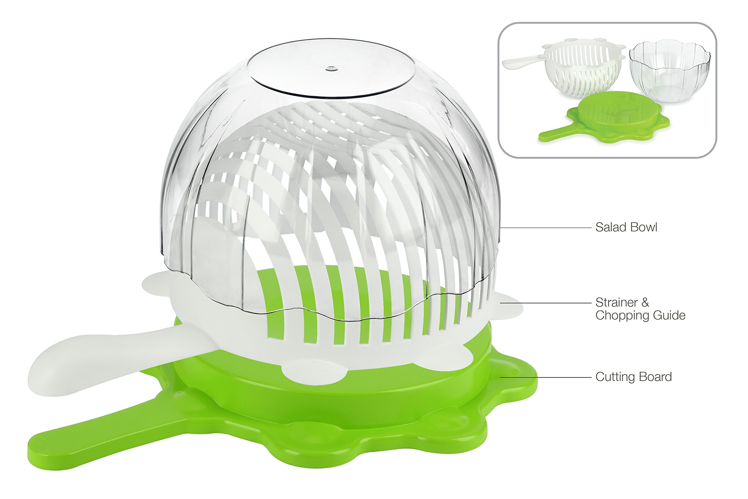 Urban Trend Smart Cut Salad - Rinse, Cut & Serve - Combines Elegant Salad Bowl, Strainer, Colander, Chopping Guide, and Cutting Board - Fresh Vegetable and Fruit Salad Maker in Less Than 60 Seconds