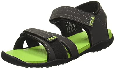 e45b12b5cb3b Fila Men s Egon Grey and Lime Sandals and Floaters - 6 UK India (40 ...
