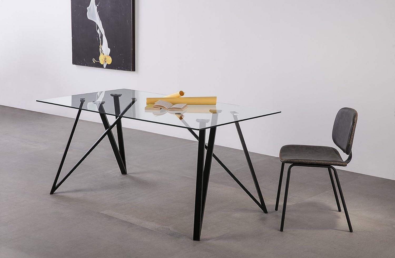 ambiato Esstisch Gaia Glastisch 160x90 Design Tisch K/üchentisch Stahl Gestell Speisezimmer