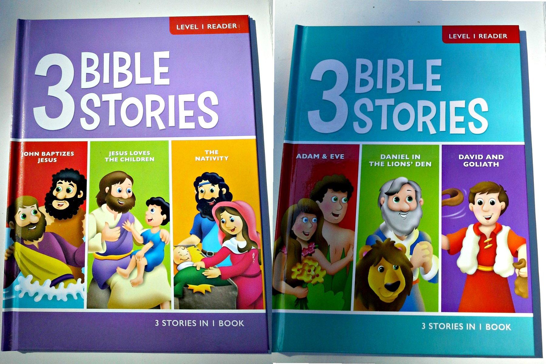 Download 3 Bible Stories Level 1 Reader Books - Set of 2 - Ages 4-7 (John, Jesus, Nativity, Adam & Eve, Daniel, David) pdf epub