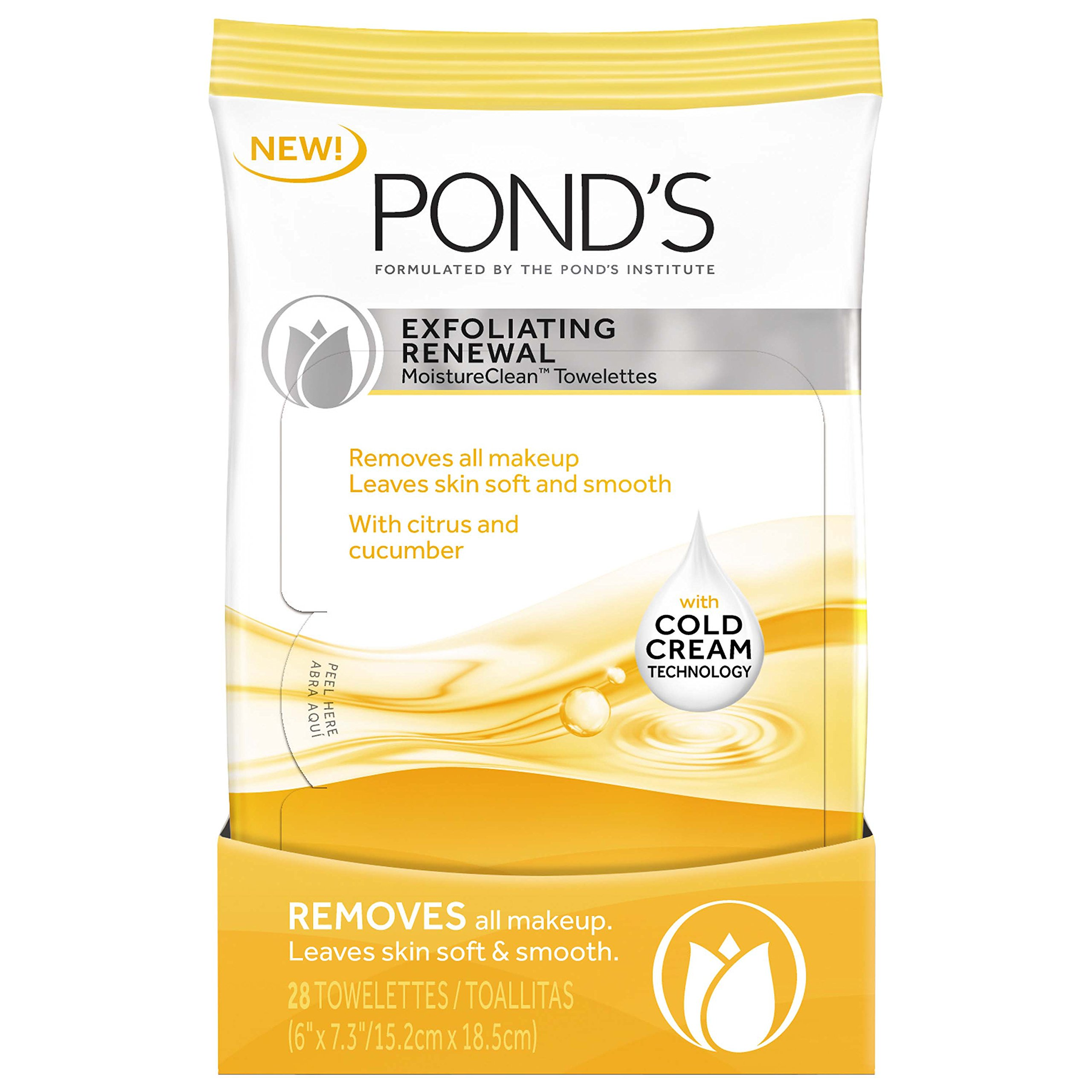 Ponds Moisture Clean Towelettes, Exfoliating Renewal 28 count- pack ...