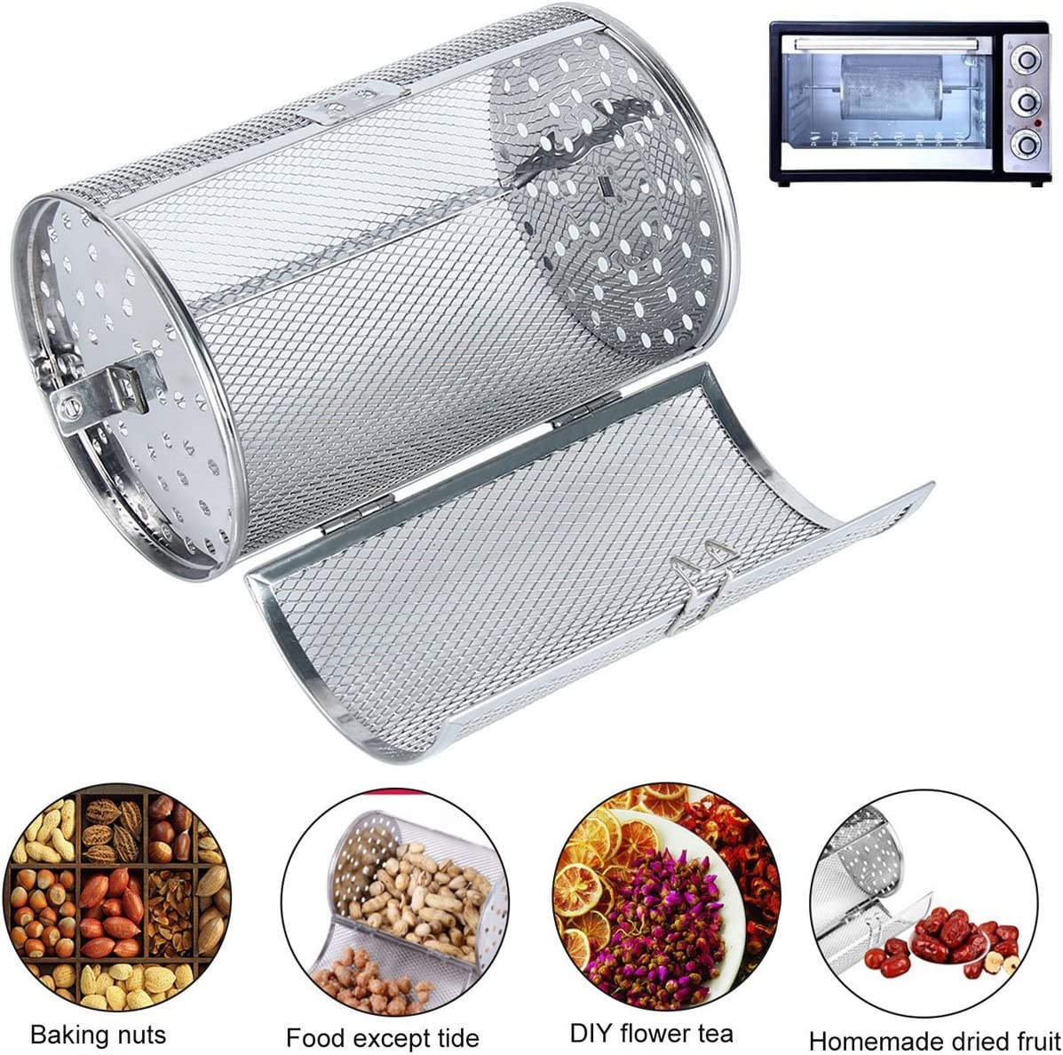 Rotisserie Grill Roaster Drum Oven Basket Oven Roast Baking Rotary for BBQ