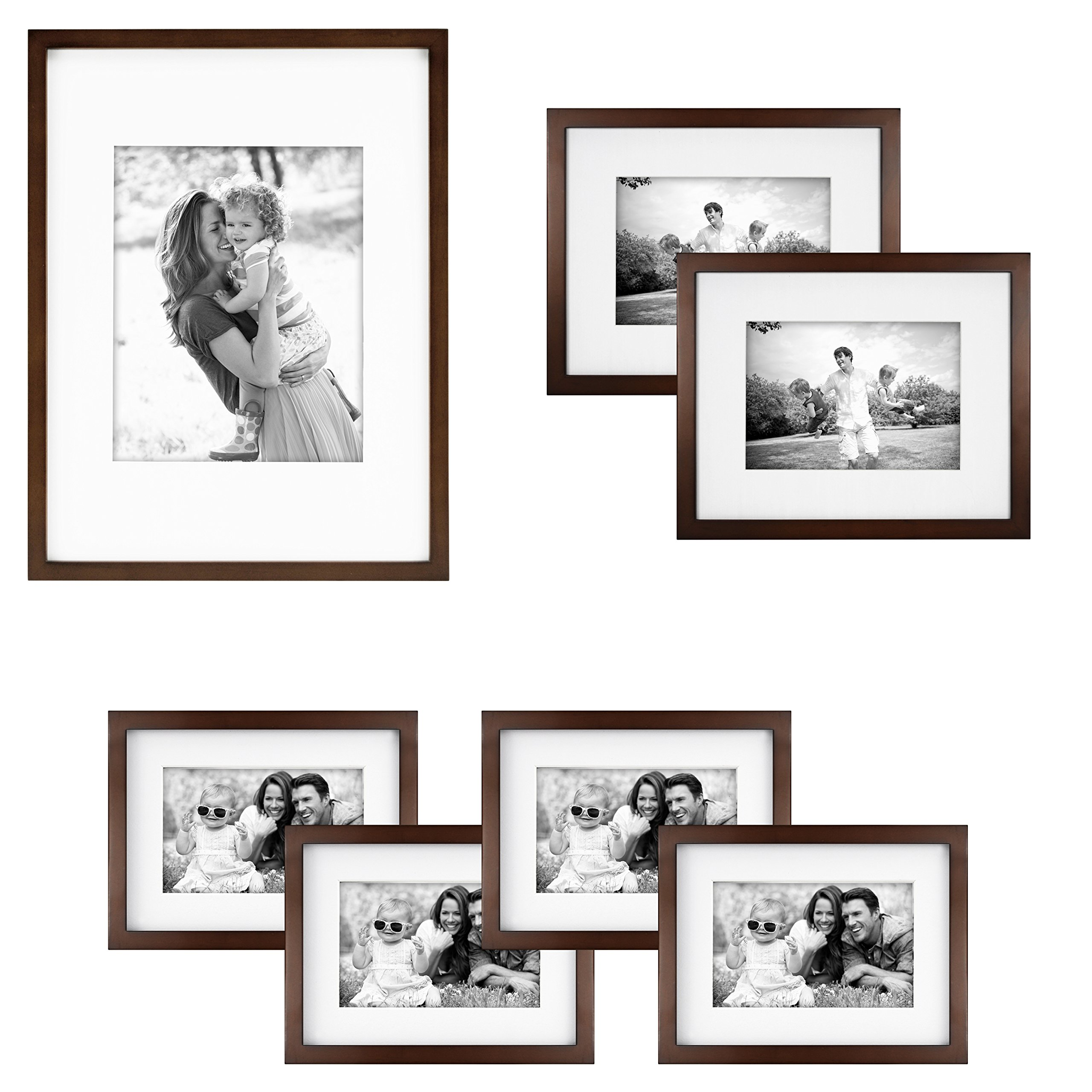 MCS Gallery Wood 7 Piece Frame Set 65736 in Walnut Finish by MCS