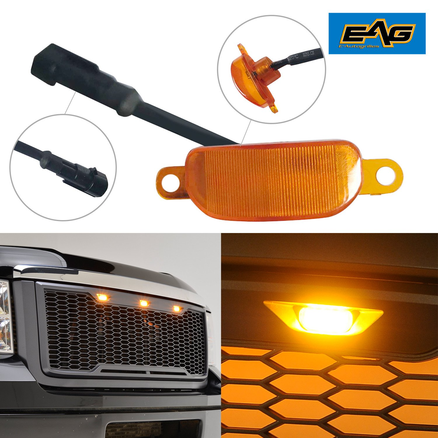 EAG Ford Raptor Style Front Grille Plug-N-Play Amber LED Lighting Kit (1PC)