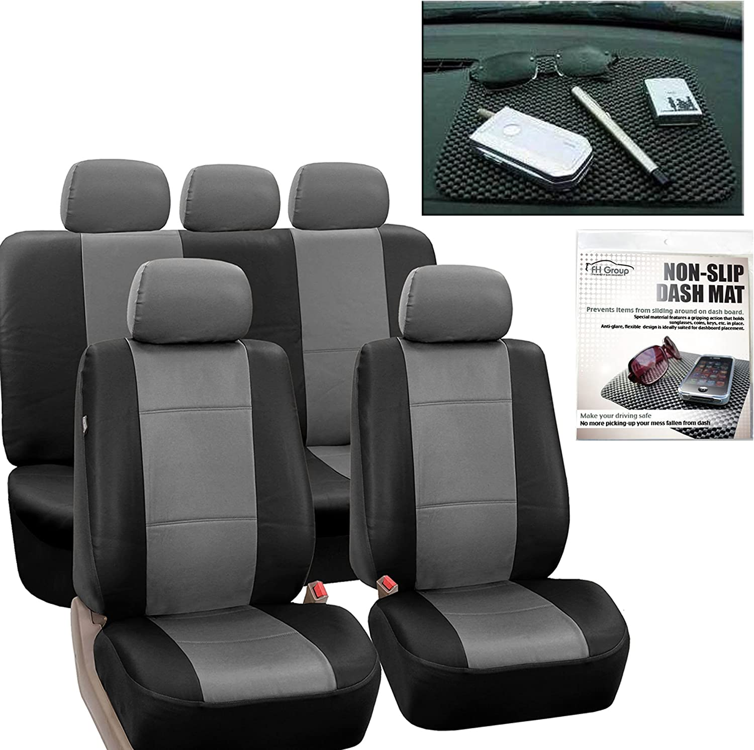 FH Group PU002115 Classic PU Leather Car Seat Covers, Airbag Compatible and Split Bench w. FH1002 Non-Slip Dash Grip Pad- Fit Most Car, Truck, SUV, or Van (Gray Black)