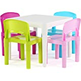 (Bright) - Tot Tutors Kids Plastic Table and 4 Chairs Set, Bright Colours