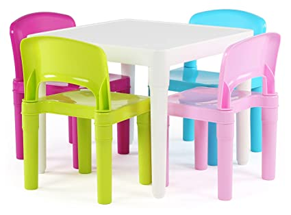 Tot Tutors Kids Plastic Table And 4 Chairs Set, Bright Colors