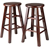 Winsome Set Of 2 Square Leg, 24-inch Counter Stool, Antique Walnut