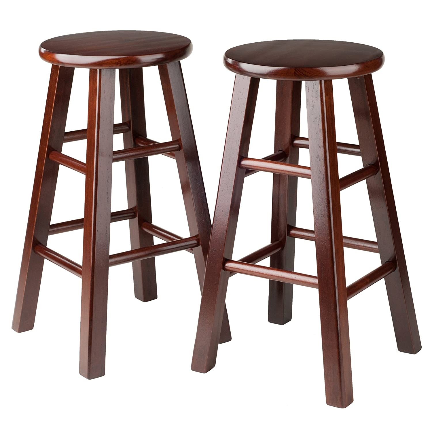 Winsome 24-Inch Square Leg Counter Stool, Black, Set of 2 Winsome Trading Inc. 20224