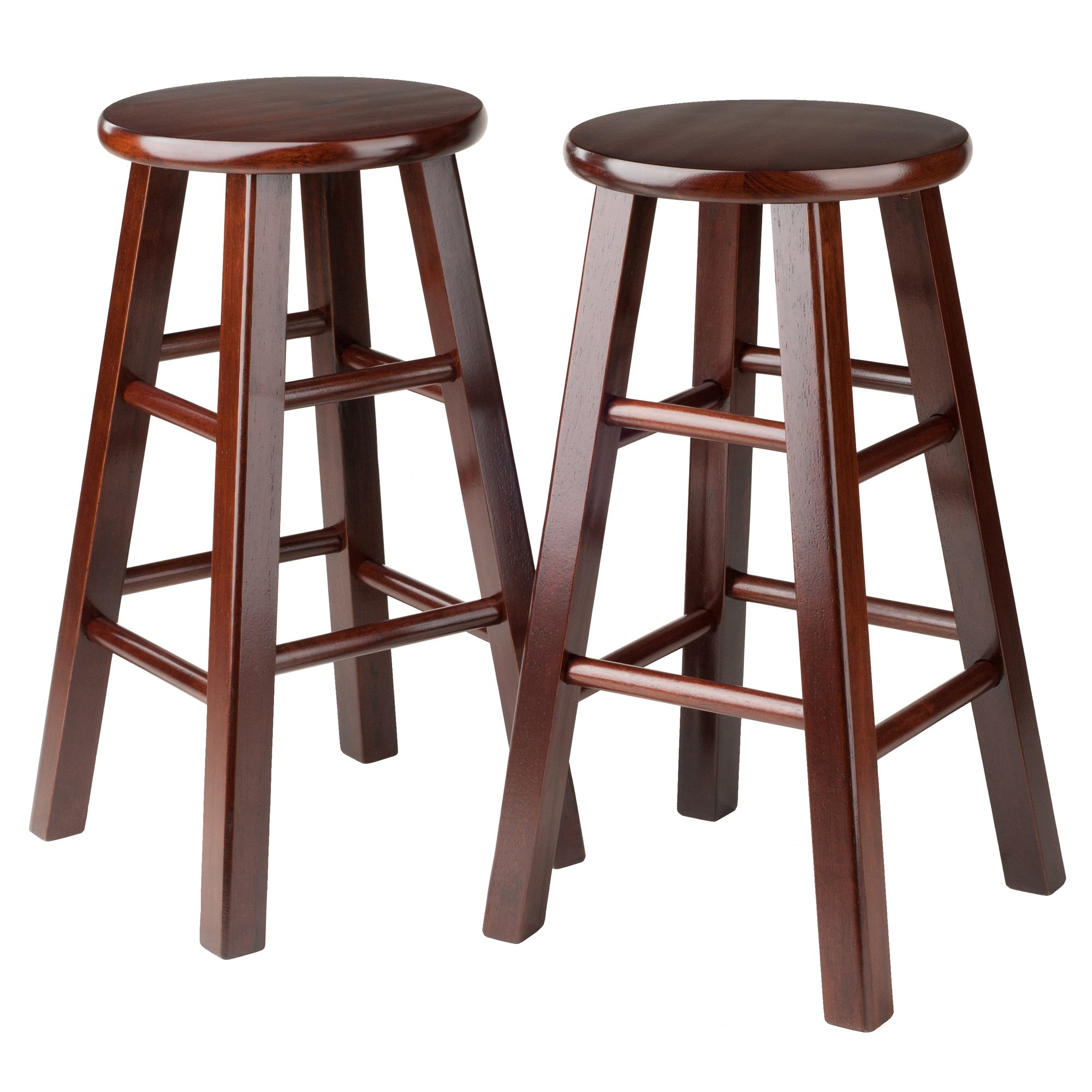 Winsome 94264 Square Leg Counter Stool, Set of 2, 24'', Walnut by Winsome