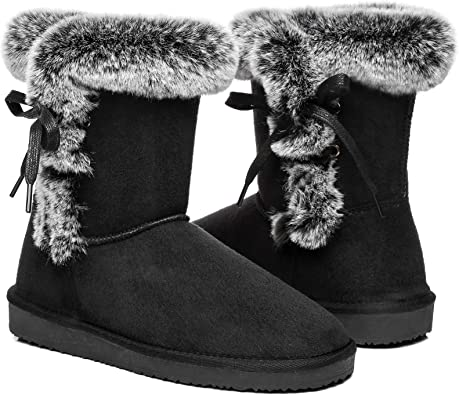 Womens Winter Mid Calf Boots Warm Fur Lined Ankle Bootie Classic Outdoor Anti-Slip Boots Shoes with Button