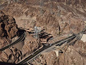 24 x 36 Giclee print ofAerial view of electrical towers at massive Hoover Dam, which straddles the border between Arizona and Nevada in the Black Canyon of the Colorado River. Now a popular tour 26q
