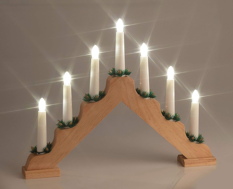 F-H-S International LED Weihnachts-Lichterbogen aus Holz, warmweiß ...
