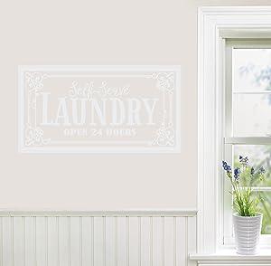 "24""x12"" Laundry Room Self Serve Open 24 Hours Frame Embellishment Vintage Look Sign Art Retro Door Wall Decal Sticker Art Mural Home Decor"