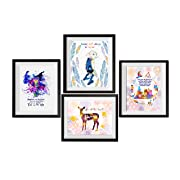 Uhomate 4 pcs Set Dobby Harry Potter Always Lord Voldemort Harry Potter Quote Abstract Art Canvas Wall Art Anniversary Gifts Baby Gift Inspirational Quotes Wall Decor for Bedroom M030 (8X10)