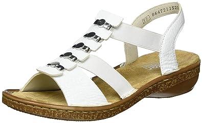 Rieker Damen FrühjahrSommer Offene Sandalen mit Keilabsatz