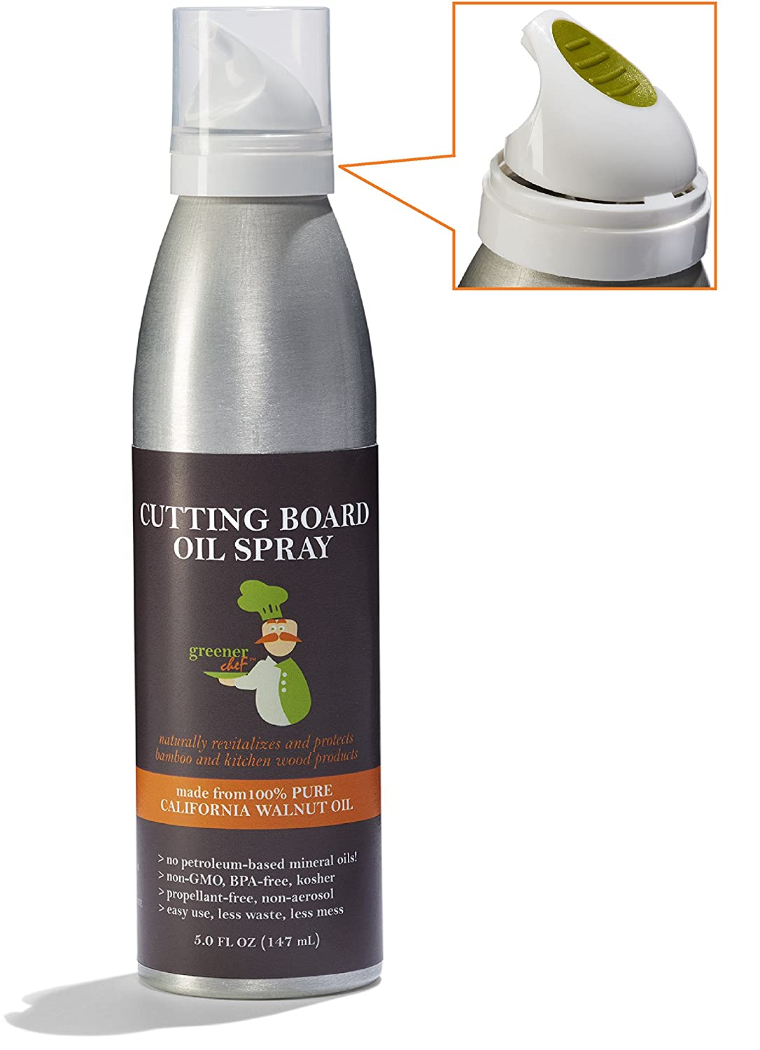 Oil for butcher block - Amazon Com Greener Chef Cutting Board Oil Food Based Butcher Block Spray Pure Walnut Oil Vegan Approved Made In Usa Kitchen Dining