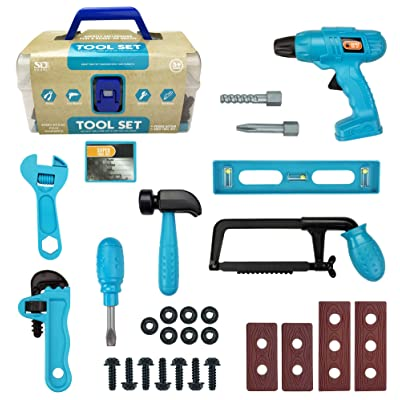 28-Piece Junior Handyman Pretend Play Toy Tool Box with Realistic Drill and Construction Power Tools Accessories