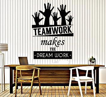teamwork office wallpaper. Beautiful Office Vinyl Decal Wall Sticker Office Quote Teamwork Makes The Dreamwork Decor  Z3955 Purple With Wallpaper O