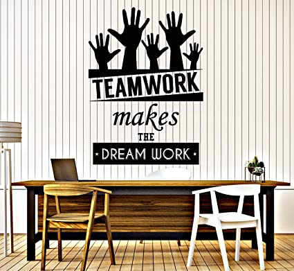 teamwork office wallpaper. vinyl decal wall sticker office quote teamwork makes the dreamwork decor (z3955) dark blue wallpaper g