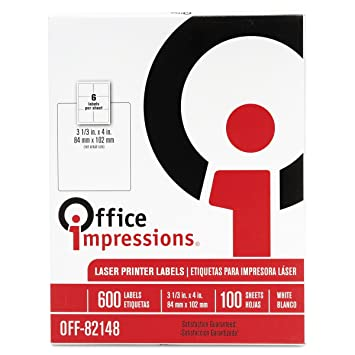 Office Impressions 82148 Office Impressions Laser Computer Labels, 3 1/3x4,White,100 Shts/BX, 600 Labels