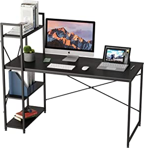 Bestier 55 Inch Computer Desk with Shelves, Modern Writing Desk with Bookshelf Reversible Storage Shelves, Study Corner Desk Table for Home Office Easy Assemble (Black Carbon Fiber, 55 Inch)