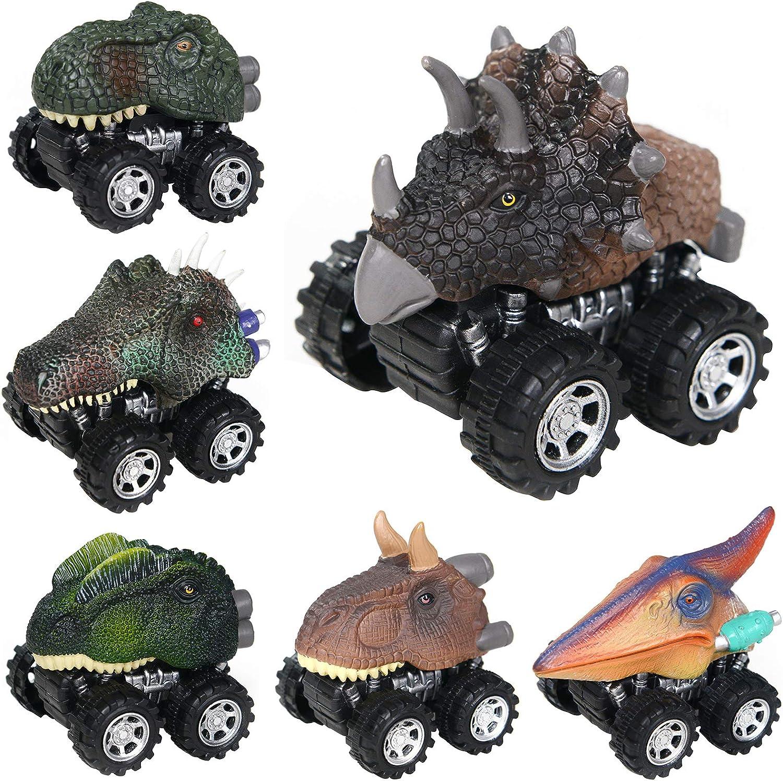 Soky Dinosaur Drag Cars Back Gift /& Toys for Children 6 Pack