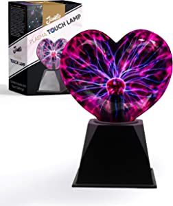Cool Heart Shaped Plasma Lamp (Electric Red/Blue, Heart)   Awesome Touch & Sound Sensitive Plasma Globe   Interactive Cool Room Decor That Kids Love   Great Christmas Gift Idea for Boys & Girls…