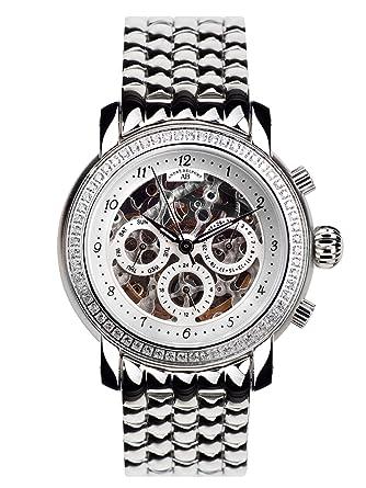 André Belfort 410142 - Reloj analógico de mujer automático con correa de acero inoxidable plateada - sumergible a 50 metros: Amazon.es: Relojes