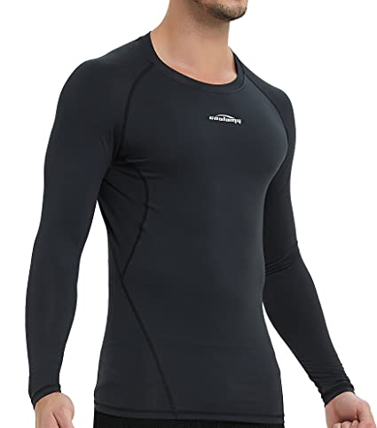 d804a64e0 COOLOMG Men s Long Sleeve Shirt Skin Fit Cool Dry Compression Top Baselayer  Black X-Small