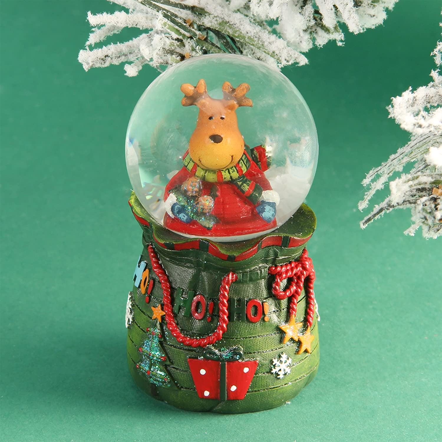 Reindeer Christmas Glass Snow Globe Widdop & Co