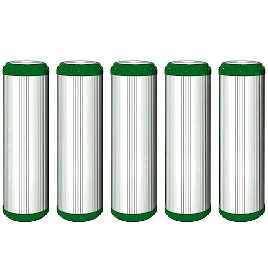 """5 x aquafilter 10 """"estándar filtro de agua relleno de cáscara de coco carbón"""