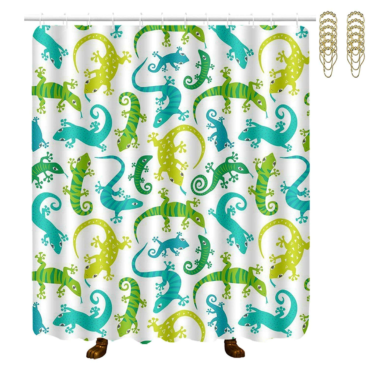 COVASA Decorative Water Repellant Shower Curtain 72x72 Inches Comes with 12 Hooks (Cute Lizards Animals)