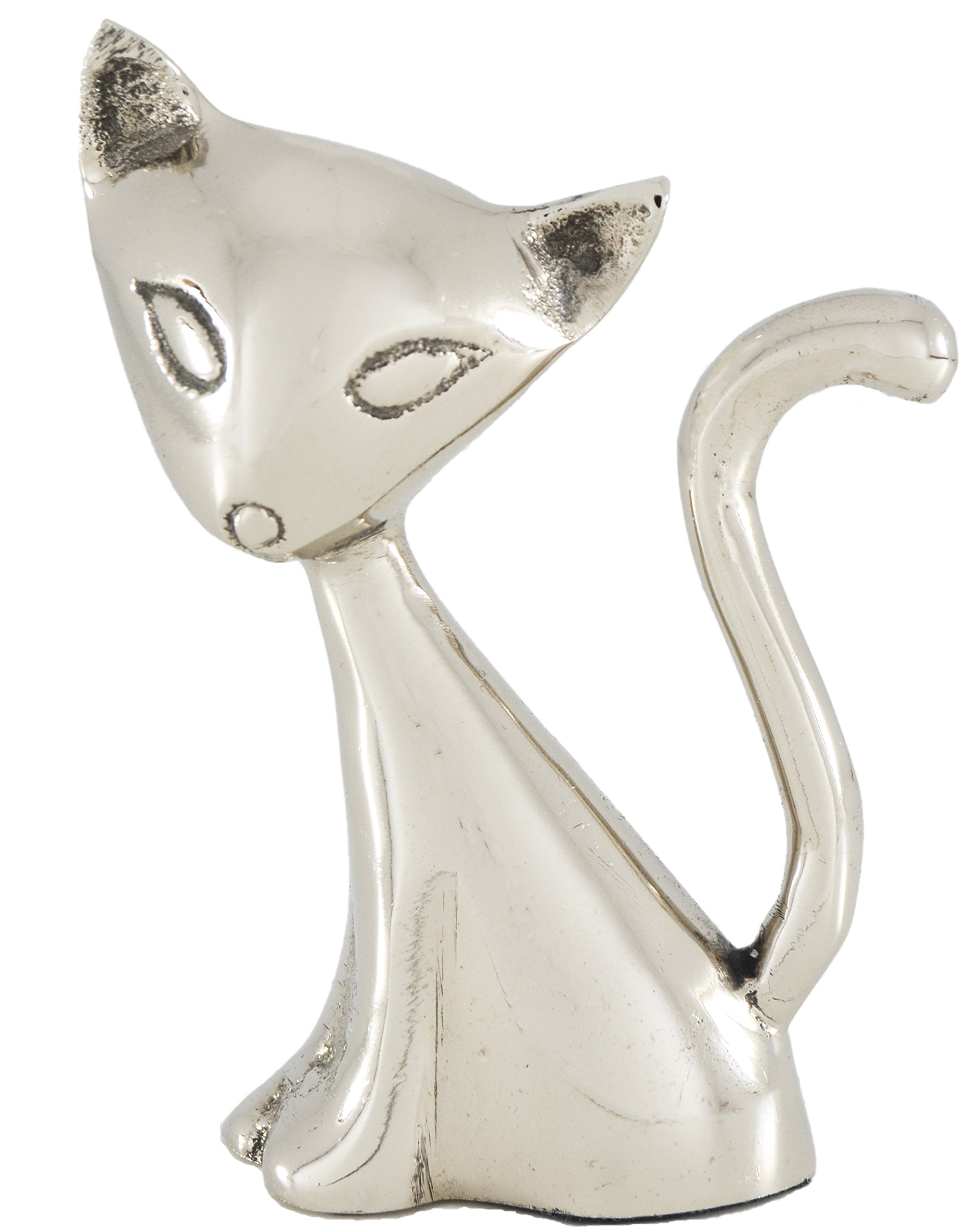 classy R us Handmade Cat Ring Holder Modern Jewelry Organizer. Engagement Ring and Wedding Ring Display Holder Stand Silver Cute Ring Holders for Jewelry (5.4 oz, 2.3'' Tail) Animal Figurines