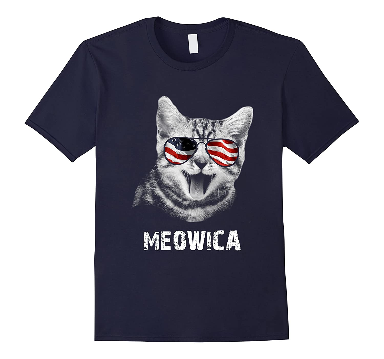 Meowica USA American Flag Cat T-Shirt Funny 4th Of July Gift-T-Shirt