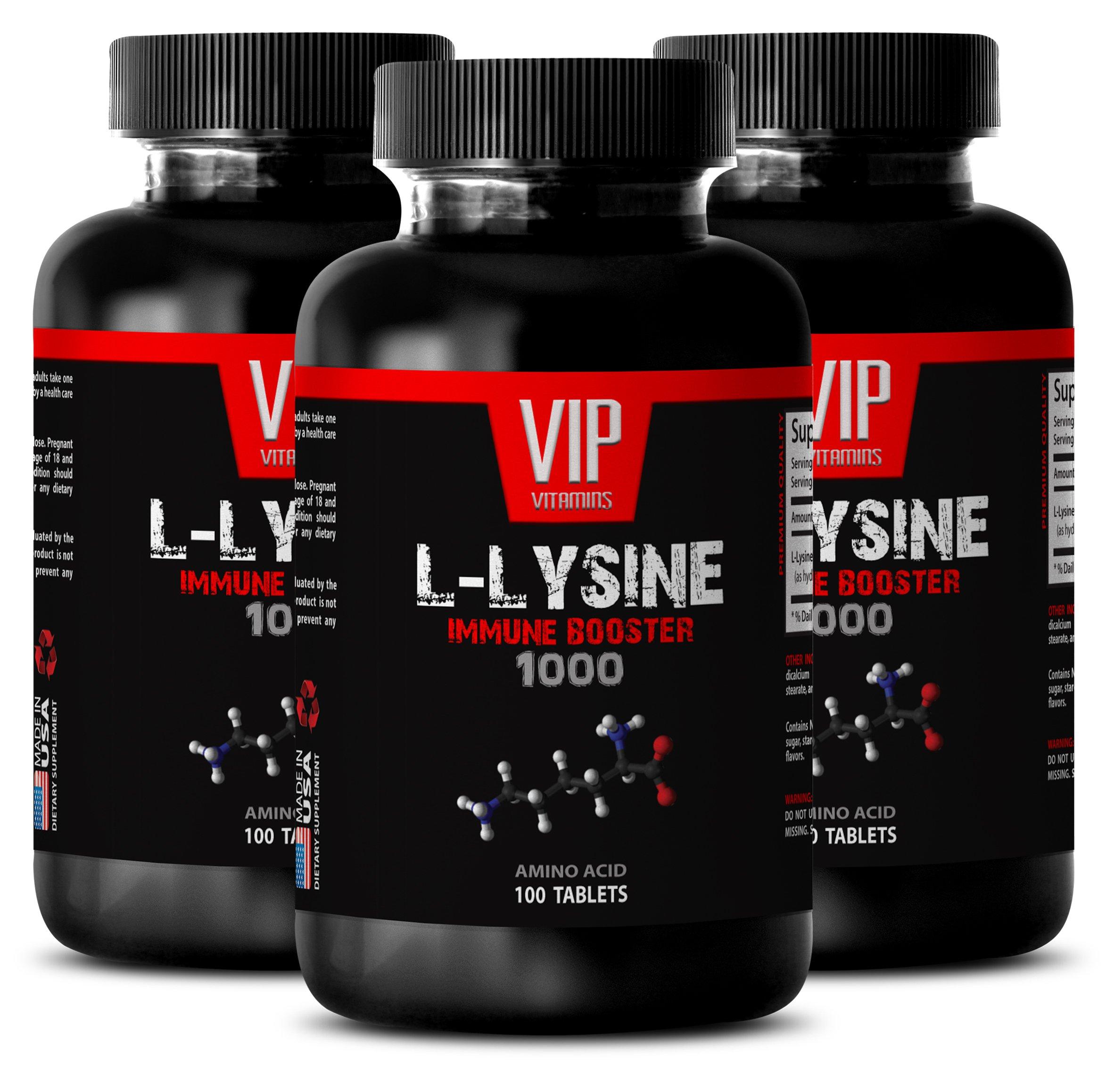 Immune system boost - L-LYSINE IMMUNE BOOSTER 1000 - Strengthen muscles - 3 Bottles 300 tablets