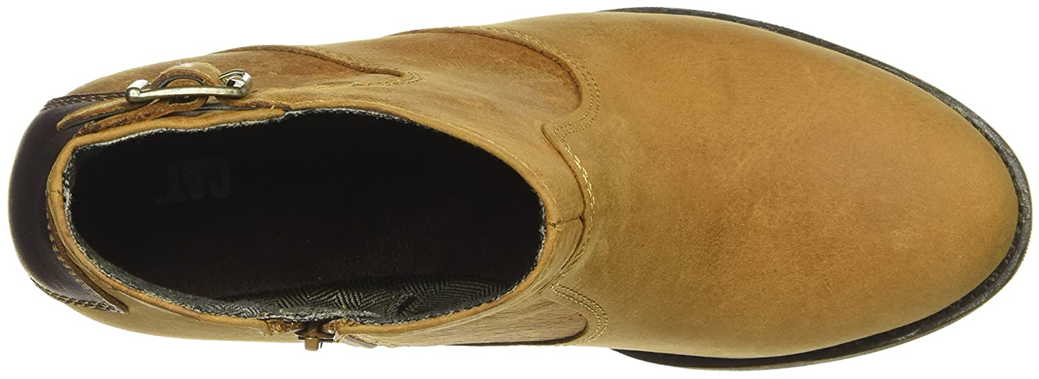 Caterpillar Women's Trestle Waterproof Leather Bootie with Side Zip Abd Stacked Heel Ankle Boot B01MXXYM27 6 B(M) US Tan / Tater