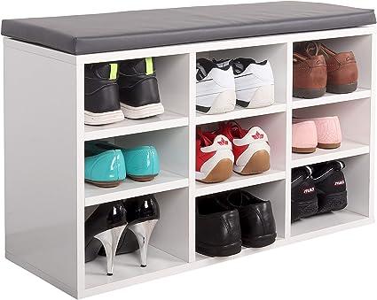 RICOO WM035-WA Banco Zapatero 79x49x30 Armario Interior con Asiento Organizador Zapatos Mueble recibidor Perchero Entrada Madera Blanco