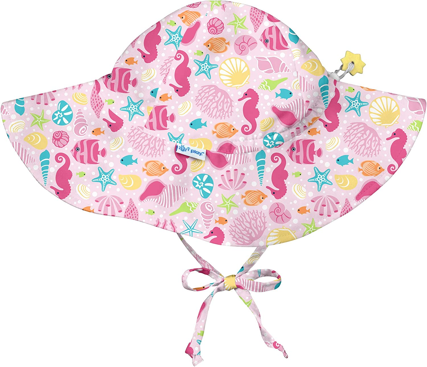 i play. by green sprouts Baby Girls Brim Sun Protection Hat Sealife-0/6mo, Pink Sealife, 0/6mo