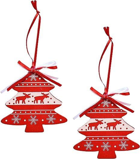 2x 2er Set Baumschmuck Aufhänger Weihnachtsanhänger Deko Baum Stern aus Holz