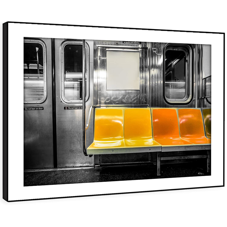 BFC1031E gerahmtes Bild Druck Wandkunst - gelb new york U-Bahn-Bank ...