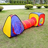 Kids Paly Tent tunnel Set,Zipom 3 in 1 Pop Up Children Play Tunnel Tent House with 1 Tunnel, 2 Tents and Zipper Storage Bag for Girls & Boys Indoor and Outdoor Garden Use