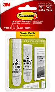 Command Picture Hanging Strips, White, Indoor Use, 4-Medium Pair, 8-Large Pair, Decorate Damage-Free