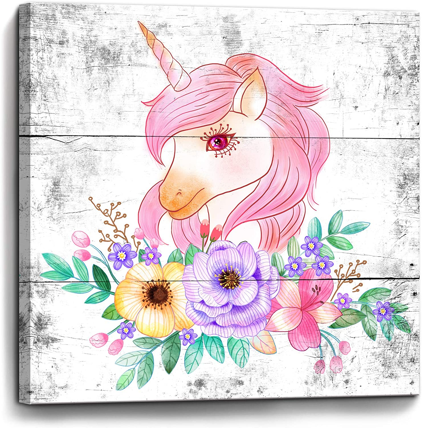 Colorful Unicorn Wall Decor Modern Bathroom Decor Wall Art Framed Canvas Prints Size 14x14 Ready to Hang for Girls Room Bedroom Pink Unicorn Flowers Pictures Artwork for Kids Room Wall Decorations