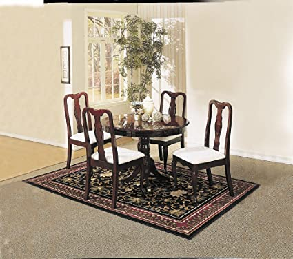 1PerfectChoice Queen Anne 5 Pc Round Dining Pedestal Table Set Chair W/  Fabric Seat In