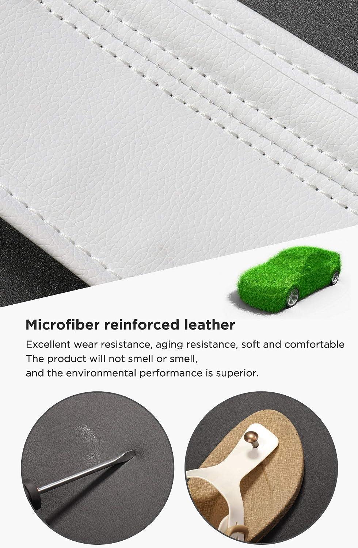 LUCKEASY for Tesla Model 3 2017-2020 Car Microfiber Leather Floor Mats White 3pcs//Set